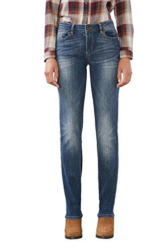 ESPRIT Damen Straight Leg Jeans mit heller Waschung, Gr. W32/L32, Blau (HORIZON BLUE 519)