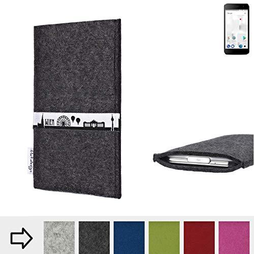 flat.design für Thomson Friendly TH101 Schutztasche Handy Hülle Skyline mit Webband Wien - Maßanfertigung der Schutzhülle Handy Tasche aus 100% Wollfilz (anthrazit) für Thomson Friendly TH101