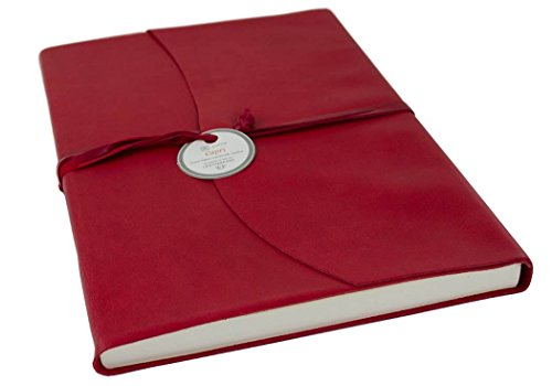 Capri Leder Notizbuch Ziegelrot, A4 Blanko Seiten - Handgefertigt in Italien von LEATHERKIND - Ziegelrot Leder