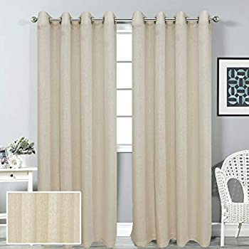 LINENWALAS Elegant Korona Design Solid Sheer Curtain with Eyelet Rings Non Blackout Door Curtain Set of 2 (Ivory, 4.5 x7ft)