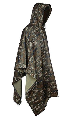 MissFox Tornado Poncho Impermeabile , Tenda, Mantello, Camping e Outdoor , Giungla Digitale Camouflage