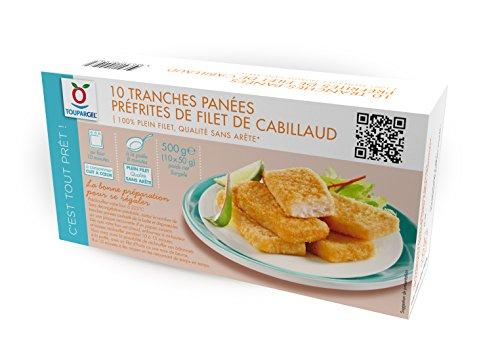 TOUPARGEL - 10 tranches de filets de cabillaud panées et préfrites - 500 g - Surgelé