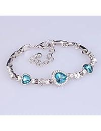 7f4cd12b8bde Zhejia Charming - Pulsera de Mujer con corazón de océano Inspirado en  Titanio y Cristal Austriaco