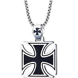Randell Acero Inoxidable Hombres La Plata Negro Collar Colgante Cruz de los Templarios,la Cadena Libre