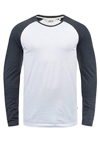 !Solid Bastien Herren Longsleeve Langarmshirt Shirt Mit Rundhalskragen, Größe:XXL, Farbe:White Blue Melange (B0001) -