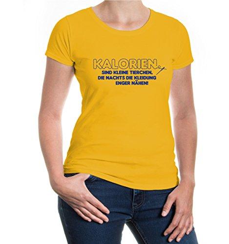buXsbaum® Girlie T-Shirt Kalorien sind kleine Tierchen, die nachts die Kleidung enger nähen Sunflower-Royal