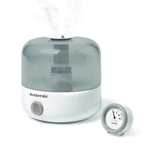 Suavinex Humidificador Silencioso en Frío para Bebés con Preciso Higrómetro, Color Blanco y Gris