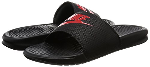 Nike Benassi JDI Black Red Mens Sandals 42.5 EU -