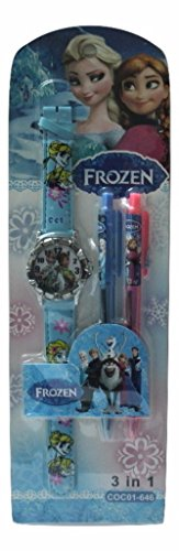BEAUTIFUL FROZEN WATCH WITH PEN PERFECT STATIONERY SET FOR KIDS  available at amazon for Rs.325