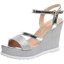 Ansenesna Sandalias Mujer Verano 2018 Vestir Tacon Alto Plataforma Playa Cruz Atado Hebilla De Correa Zapatos De Cuñas Sandalias
