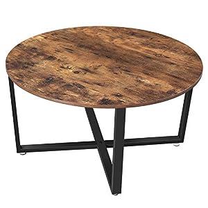 VASAGLE Couchtisch rund, Wohnzimmertisch, Sofatisch, Kaffeetisch, stabiles Stahlgestell, einfacher Aufbau, Industrie…