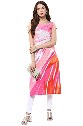 Janasya Women's Straight Crepe Kurti (JNE1109.A-MULTI-KR-UDF7_Multicolor_Large)