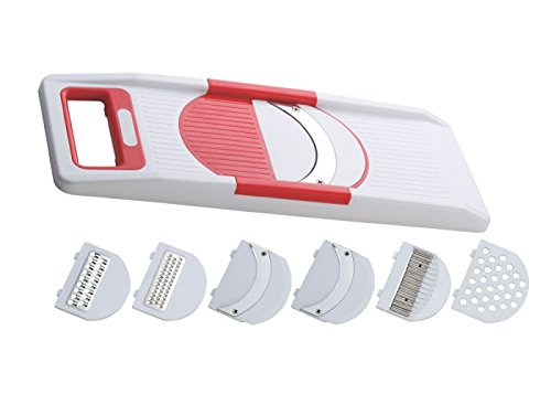 NestWell Vegetable Fruit Slicer Maker Multi Purpose (6 in 1) Vegetable Slicer (White:Red)