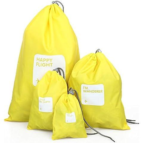 SODIAL (R) 4 Kit bolso de nylon amarillo impermeable con cordon de cierre