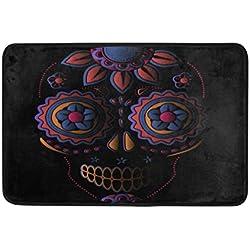 Use7 - Felpudo de Halloween, diseño de Calavera de azúcar, para Interior y Exterior, 60 x 40 cm, Color Negro