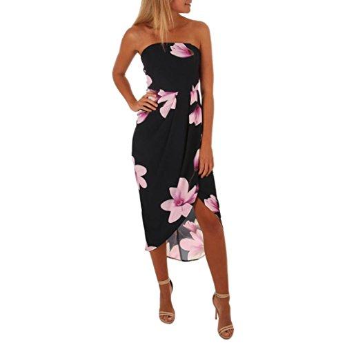 Elecenty Damen V-Ausschnitt Strandkleid Irregulär Sommerkleid Rock Mädchen Blumen Drucken Abendkleider Kleider Frauen Mode Ärmellos Kleid Minikleid Knielang Kleidung (XL, Schwarz)