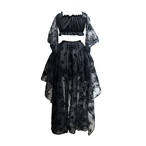 Damen Retro Vintage Gothic Steampunk Röcke titivate Halloween Party High Low Rüschen Rock Spitze Punk Kleid Cocktailrock Cosplay Kostüm Schulter Oberteil (L, Langes Ärmel + (Damen Kostüm Schwarze Pirat)
