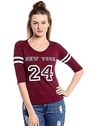 The Dry State Women's Cotton Burgundy New York Full Sleeves Tshirt