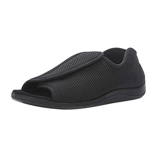 Zapatos diabéticos Ajustables, Unisex, de Malla de Verano, Planos, Ajustables, ortopédicos, para Oedema Hinchable y pie, Anchos y Abiertos, Color Negro-46EU