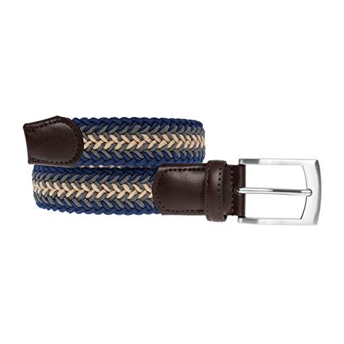 LUUK LIFESTYLE Cinturón trenzado, cinturón elástico, cinturón de tela con cuero auténtico, varios colores, cinturones para hombres y mujeres, caja de regalo, 115 cm
