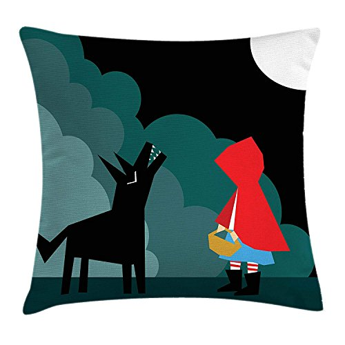 Trsdshorts Crying Wolf Throw Pillow Cushion Cover, Cartoon Style Little Red Riding Hood Scene Fairy Tale Illustration Big Bad Wolf, Decorative Square Accent Pillow Case, 18 X 18 inches, Multicolor