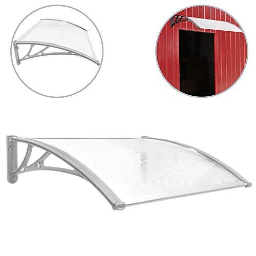 PrimeMatik - Tejadillo de protección Marquesina para Puertas y Ventanas Gris 80x60cm