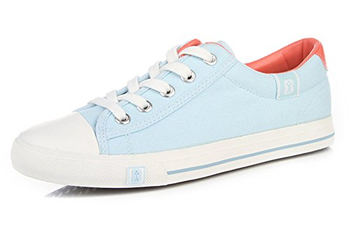 Aisun Damen Klassich Canvas Low Top Schnürsenkel Sneakers Blau