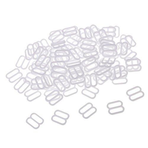 Baoblaze 100 Pcs Bikini Verschluß Dessous Nähen BH Ringe Schnallen Schieberegler für Strumpfbänder Zubehör - Weiß, 10 mm