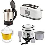 BMS Lifestyle 1-LTR Citrus Juicer Extractor, 4-Slice Big Pop-up Toaster, Electric Kettle And Citrus Juicer, 4-Pcs Set