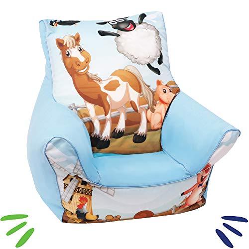 DELSIT universelles Kindersitzsack Kinder Sitzsack Spielzimmer für Jungen und Mädchen BAUERNHOF Blau
