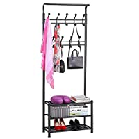 Yaheetech Height 187cm Coat Stand Rack for Hallway/Office Entryway Organizer Multi-purpose Clothes Shoes Hats Bags Umbrella Stand