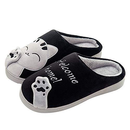 QZBAOSHU Slippers for Women Kids Winter Comfort Memory Foam Cat Kitty Cartoon Slippers Indoor