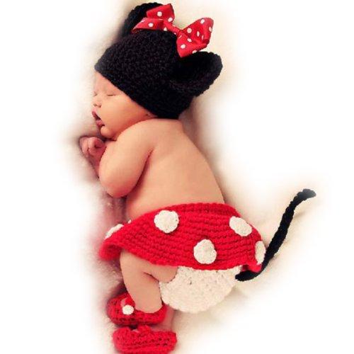 Mädchen Baby Boy Newborn- 9 m Knit Set Gehäkelter Micky Maus Kleidung, Foto Requisite Outfits