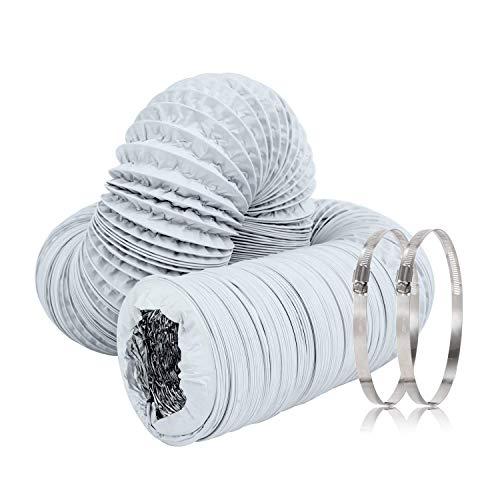 Hon&Guan Tuyau d'évacuation Tuyau d'aération Flexible en PVC Aluminium pour Hotte Sèche-linge (ø150mm*5m, Blanc)