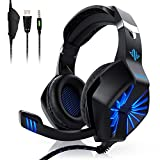 PS4 Gaming Headset ,GESPERT Over Ear Gaming Kopfhörer,Surround Sound,mit Mikrofon und LED-Licht,3,5mm Kabel,Kopfhörer für PS4 ,XBOX one,PC, Laptop Tablet Mac iPad Nintendo Switch