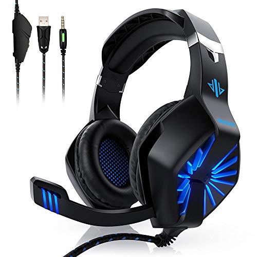 PS4 Gaming Headset ,GESPERT Over Ear Gaming Kopfhörer,Surround Sound,mit Mikrofon und LED-Licht,3,5mm Kabel,Kopfhörer für PS4 ,XBOX one,PC, Laptop Tablet Mac iPad Nintendo Switch