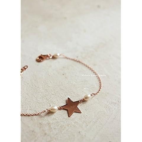 Bracciale STAR in argento 925 placcato oro rosa, perle di fiume e connettore a forma di stella