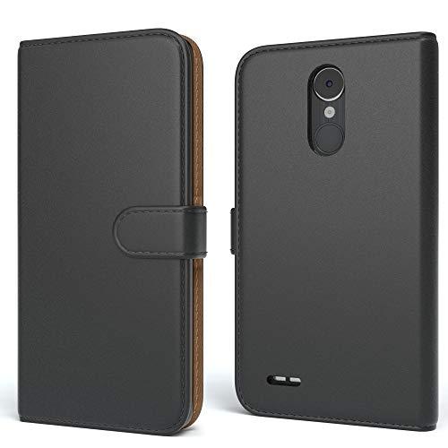 EAZY CASE Tasche für LG K8 (2017) Schutzhülle mit Standfunktion Klapphülle im Bookstyle, Handytasche Handyhülle Flip Cover mit Magnetverschluss und Kartenfach, Kunstleder, Schwarz