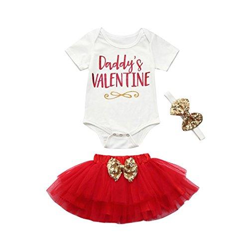 Yanhoo Neugeborenen Baby Mädchen Brief Strampler Tops + Rock Valentinstag Outfits Set Baumwolle Brief Daddy Valentine (Weiß, 80) (Valentine Kinder Schlafanzug)