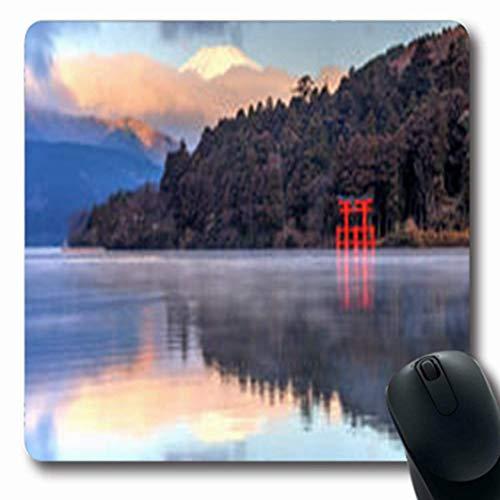Luancrop Mousepads Der Fujisan-Reflexion auf japanischem See Ashinoko Natur-Japan-Schrein-länglichem Spiel Mousepad rutschfeste Gummimatte See, Japan