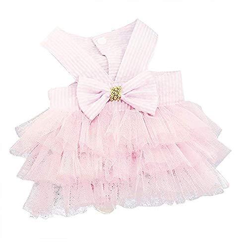 &liyanan Small Dog Girl Dress, Haustier Katze Lace Tutu Streifen Weste Rock Kleidung, Haustier Hund VIP, Spielzeug Teddy Milch Hund Rock Frühling und Sommer Kleidung,Pink,XS