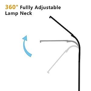 [Neue Version] norjack uy-f9 6 Füße Fernbedienung dimmbar LED Stehleuchte, 120 Level Anpassung, 3000-6000 K, 6 W 500 Lumen Ultrahelle, schwarz