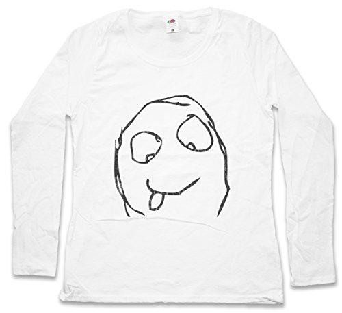 Urban Backwoods Happy Derp Meme Woman Donna T-Shirt A Manica Lunga – Taglie XS – 2XL Bianco