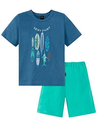 Schiesser Jungen Kids Knaben kurz Zweiteiliger Schlafanzug, Blau 800, 98 (Herstellergröße: 098)