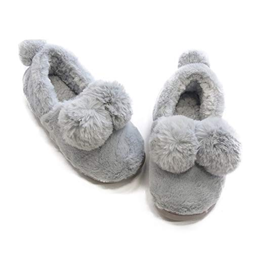 ute Mule House Slippers Fuzzy Plush Fleece Comfort Lazy Winter Outdoor Slipper für Frauen Männer,Gray,36/37 ()