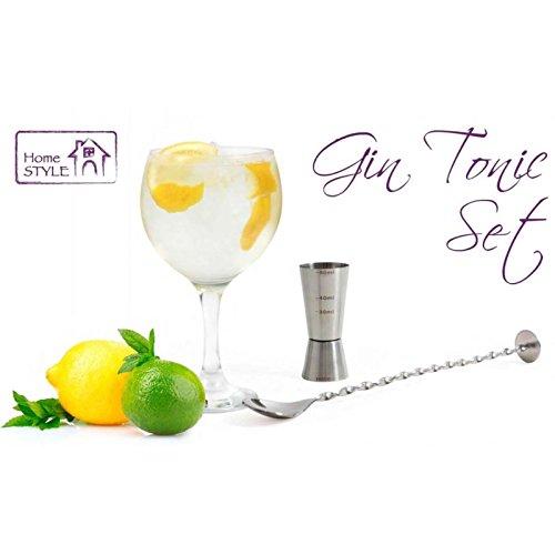 LA&V Set Gin Tonic con 6 Copas de Balón, 1 Vaso Dosificador, 1 Cuchara Mezcladora y Recetario