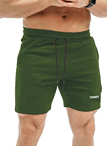 Ouber-Mens-Fitted-Workout-Shorts-Gym-Bodybuilding-Joggers-Short-with-Zipper-Pockets