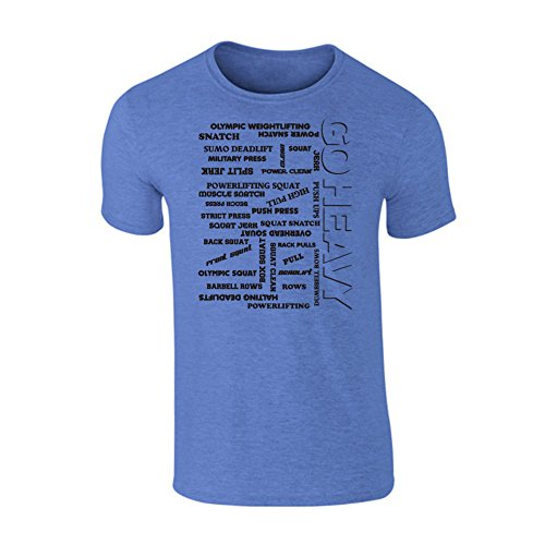 Go Heavy Camiseta Deportiva para Hombres para Fitness - All The Pain - Brezo Azul - S
