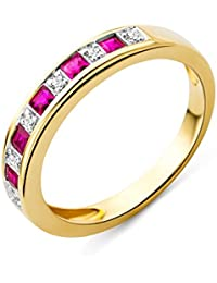 Miore Damen-Ring Rubin und Brillanten 9 Karat 375 Gelbgold MG9133R