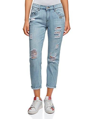 Oodji ultra donna jeans boyfriend strappati, blu, 30w/32l (it 48/eu 44/xl)
